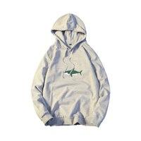 2018 Sonbahar Set Çok Renkli Gömlek Uzun Öğrenci Baskı Shark Başkanı Cap Üst Giysi Gevşek Coat Ücretsiz kargo