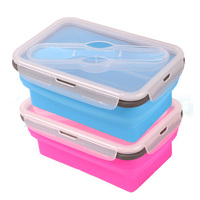2015 Hot Middle Size Silicone Lunch Box Square Shape Collapsible Bento Box Food Container Safe Fresh