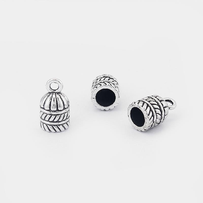 10pcs Antique Silver Carved Stripe End Cap Beads Fit 5mm Round Leather Cord
