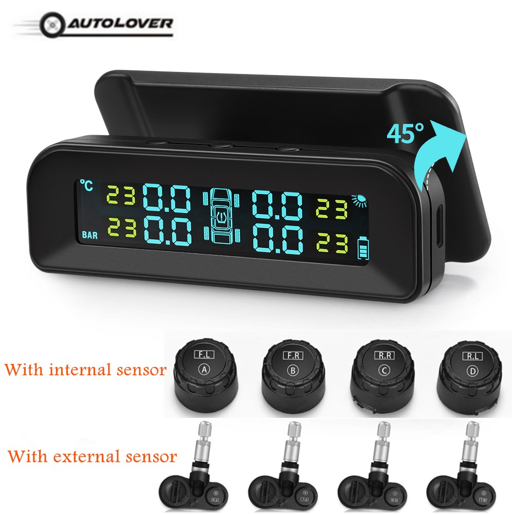 AutoLover C260 Solar TPMS Universal Tire Pressure Monitoring System Real-Time Tester LCD Screen With 4 External/Internal Sensors
