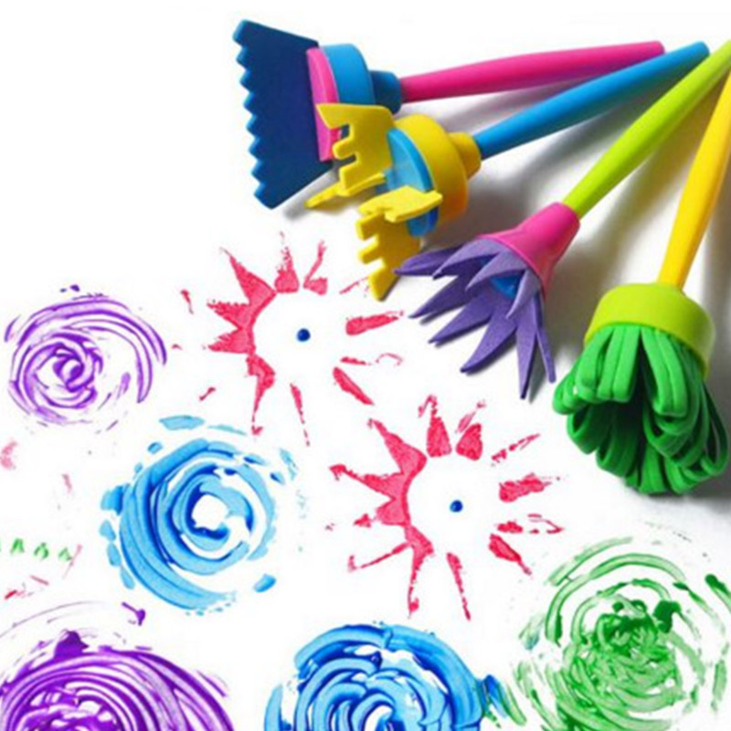 Children Flower Graffiti Art Drawing Painting Toys Tool Funny Creative DIY Flower Graffiti 4 Pcs  Rotate Spin Sponge Paint Brush