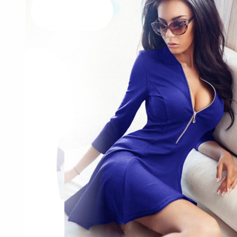 2016 Summer Autumn Fashion Women Dress Solid Pleated V -8552