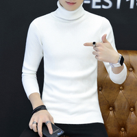Men's Turtleneck Sweater 2019 Winter Korean Trendy Teen Student Warm Knitwear Long clothes Thin Japan Style Gray Red