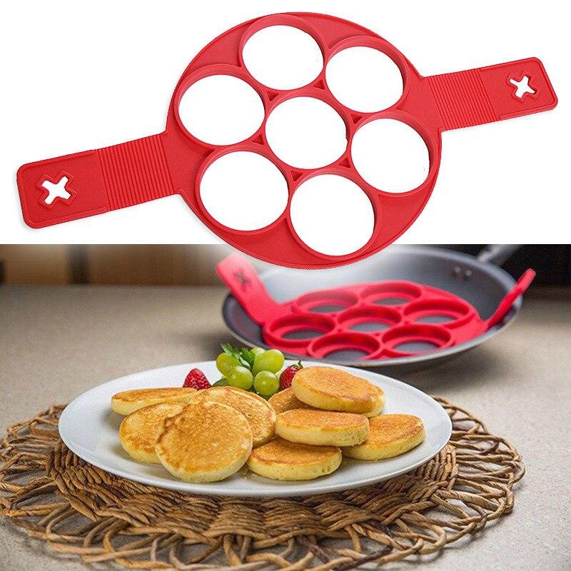 1PC 7 Holes Nonstick Pancake Maker Egg Ring Maker Kitchen Perfect Pancakes Easy Flip Breakfast Omelette Tools OK 0514