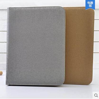 a4 leather file folder zipper portfolio A4 padfolio business manager folder with calculator ring binder W015
