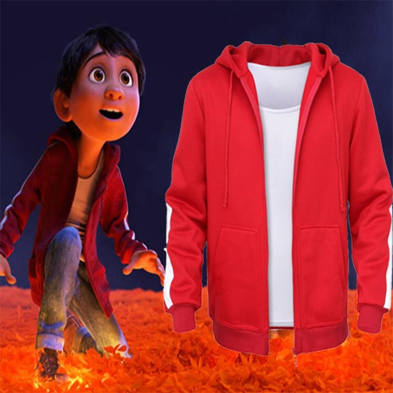 Movie Animation CoCo Miguel Riveras Cosplay Costumes Kids Red Hoodies Unisex Fleece Coat Sweatshirts Top Vest