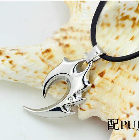 Collar de cadena de cuero de llama potente dragón acero titanio Vintage europeo estilo de hombre N2654