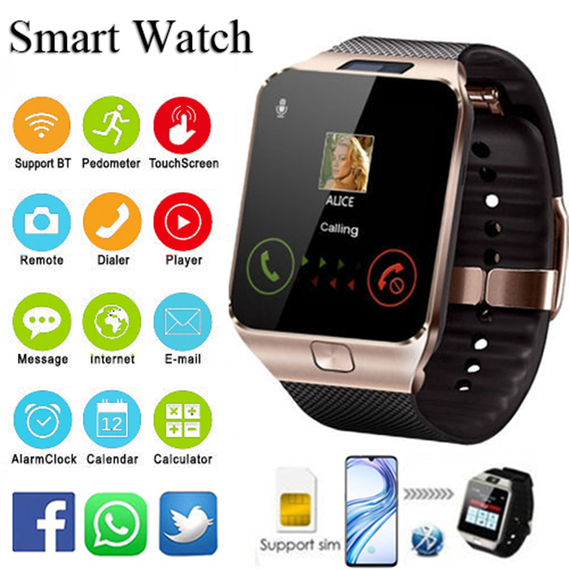 Reloj inteligente Bluetooth 2018 reloj inteligente hombres Digital inteligente deporte Smartwatch DZ09 podómetro para Android Smartphone
