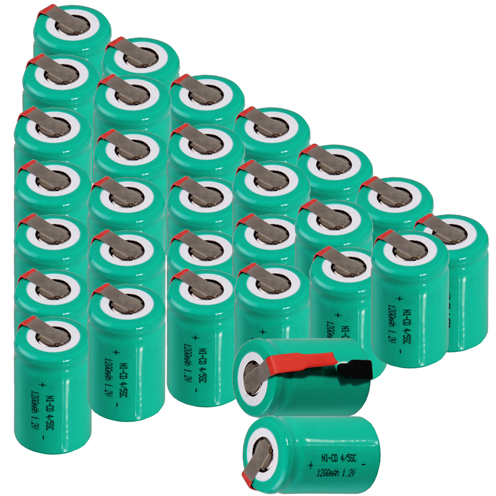 Real capacity 30 pcs 4/5SC 1200mah 1.2v battery NICD rechargeable batteries for emergenc ...