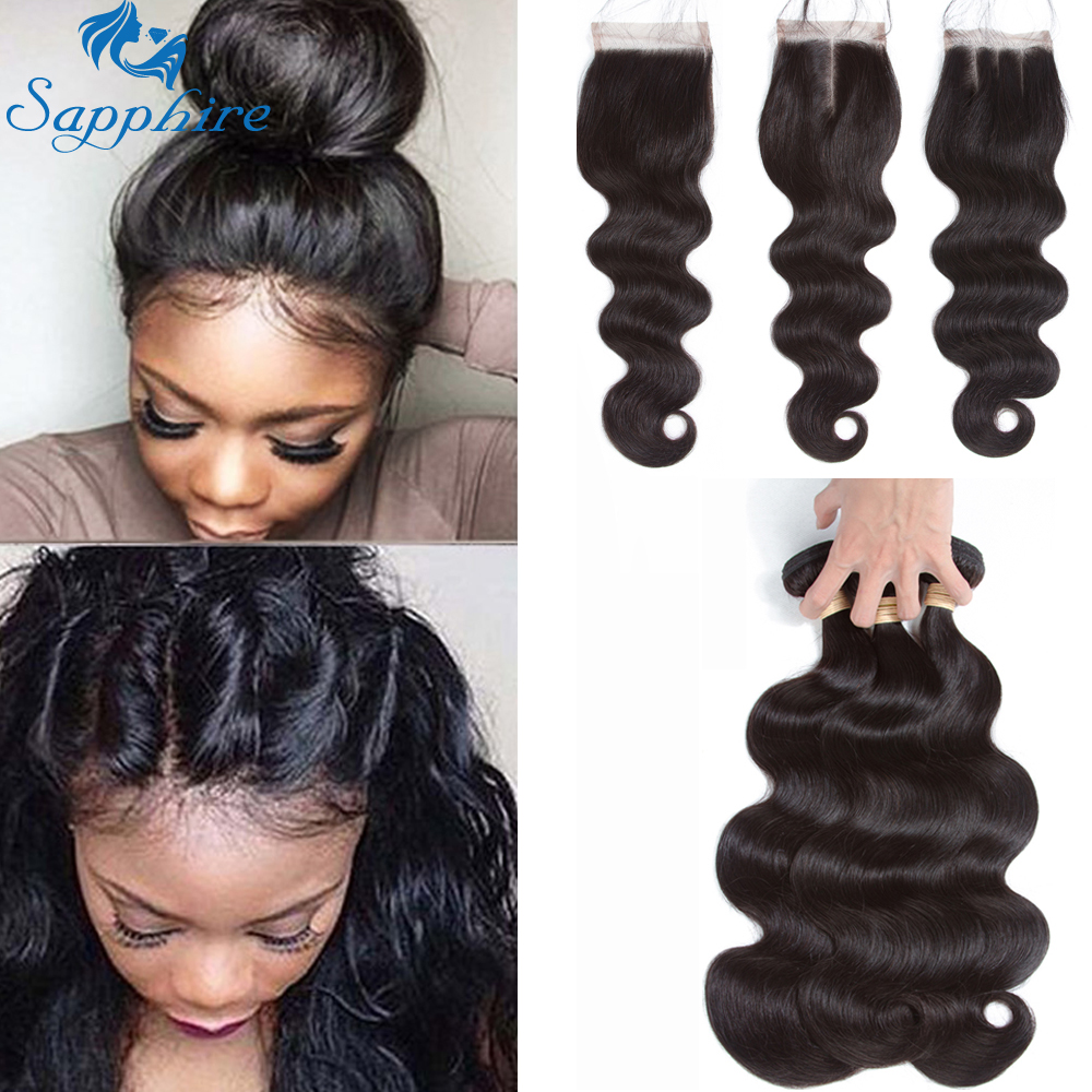 Sapphire Brazilian Hair Weave Bundles With Closure Body