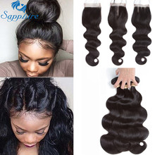 Sapphire Brazilian Hair Weave Bundles With Closure Body Wave Bundles With Closure Human Hair Bundles With Closure Hair Extension(China)