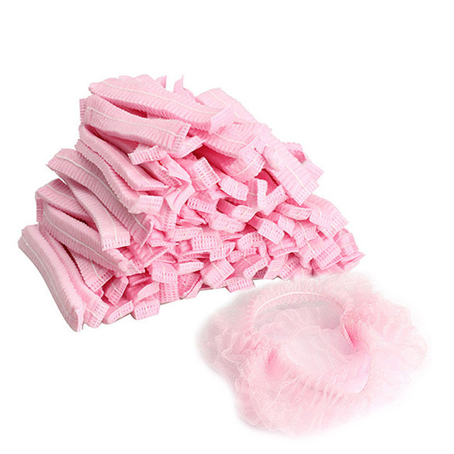 100PCS Women Men Disposable Shower Cap Non Woven Pleated Anti Dust Hat Bath Caps Set White Bouffant Caps for Spa Hair Salon