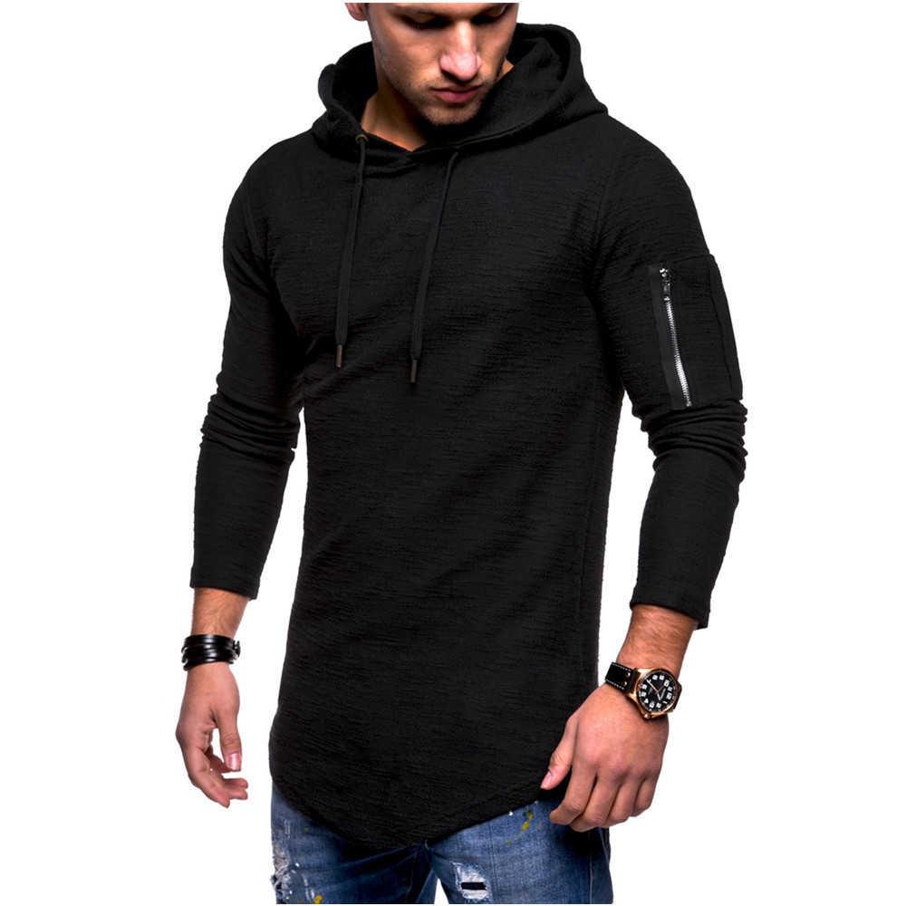 Moomphya с капюшоном с длинным рукавом мужская футболка на молнии с рукавом Футболка мужская удлиненная футболка уличная хип-хоп Футболка мужская одежда 2018