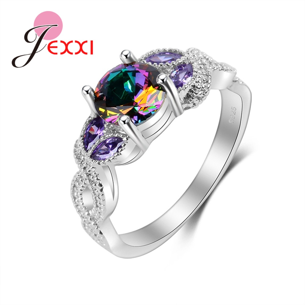 JEXXI Top Quality Ring Vintage 925 Sterling Silver Rings Rainbow Bague Women Engagement Decoration Multicolor Fashion Ring