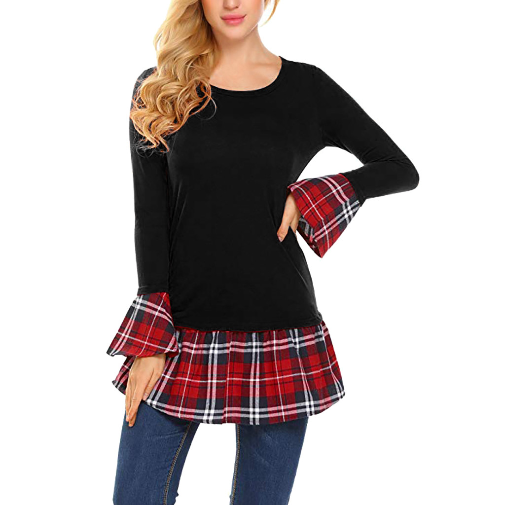 Women's Clothing Women Blouse Lattice O-neck Flare Sleeve Patchwork Shirt Long Sleeve Casual Blouse Dressy Tops Loose Shirts F80