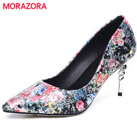 MORAZORA Microfiber Printing Leather Shoes Woman Spring Autumn Elegant High Heels Shoes Pointed Toe Women Pumps
