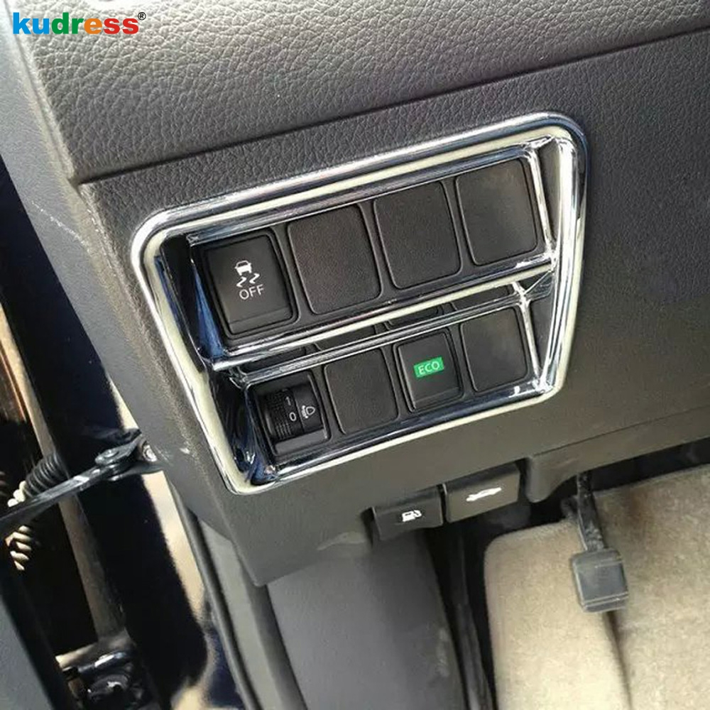For Nissan Qashqai 2014 2015 ABS Chrome Interior Car Front Headlight Lamp Switch Control Button Cover Trim Auto Parts