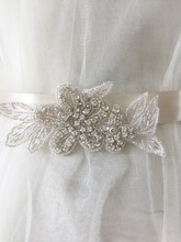 5 pieces /lot Small rhinestone beaded iron on lace applique for bridal wedding sash belt , garters