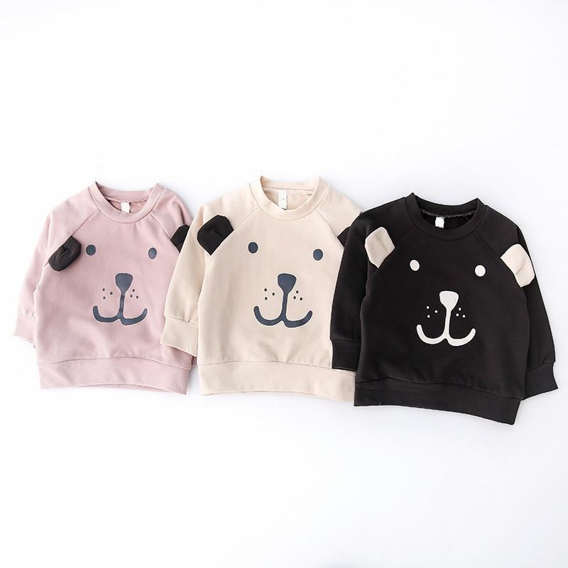 Kids Spring Autumn Sweatshirt Baby Boy Girl Cartoon Cotton Sweater Toddler Fashion Bear Clothes Child O-Neck Long Sleeve Hoodies