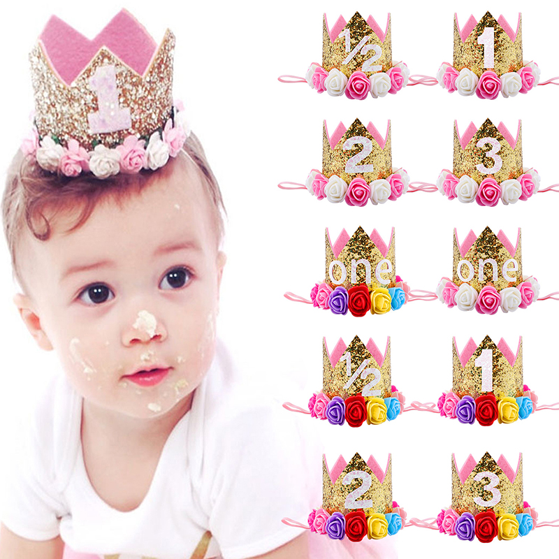 Baby Girl First Birthday Party Hat Decorations Hairband Princess Queen Crown Lace Hair Band Elastic Head