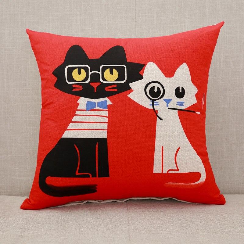 Милый мультяшный Чехол на подушку, слон, кошка, декоративный Чехол на подушку, с рисунком жирафа, Чехол на подушку для дивана, funda cojin kussenhoes - Цвет: 13