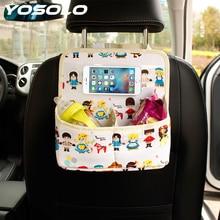 Yosolo заднем сиденье автомобиля организатор Мультфильм универсальный для телефона Ipad автомобиль-Стайлинг Средства ухода для автомобиля Kid Салонные аксессуары сумка для хранения