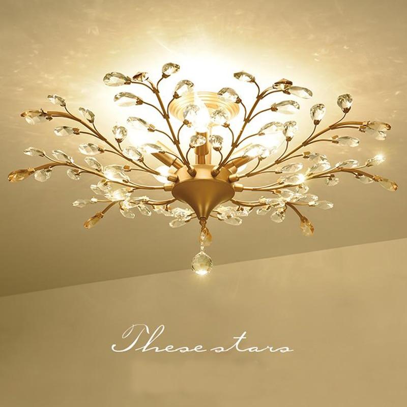 Pays d'amérique style LED Plafonniers en cristal creative fer suspendu lumière couloir salon chambre Plafonnier en cristal lampe