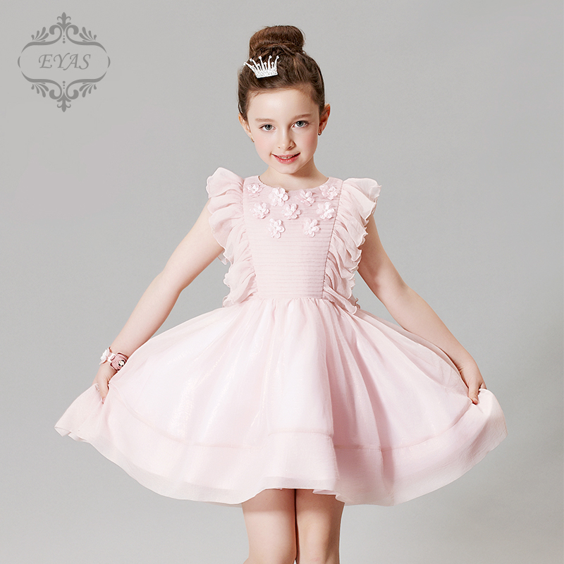 2017 Eyas New Style Retail Spring Summer Autumn Girls Birthday Dress Baby Pink Petals Wedding Evening Dress Flower Girl D6219 new autumn retail baby girls fashion