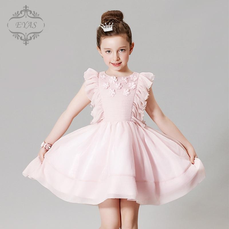 2017 Eyas New Style Retail Spring Summer Autumn Girls Birthday Dress Baby Pink Petals Wedding Evening Dress Flower Girl D6219