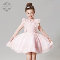 2016 Eyas New Style Retail Spring Summer Autumn Girls Birthday Dress Baby Pink Petals Wedding Evening