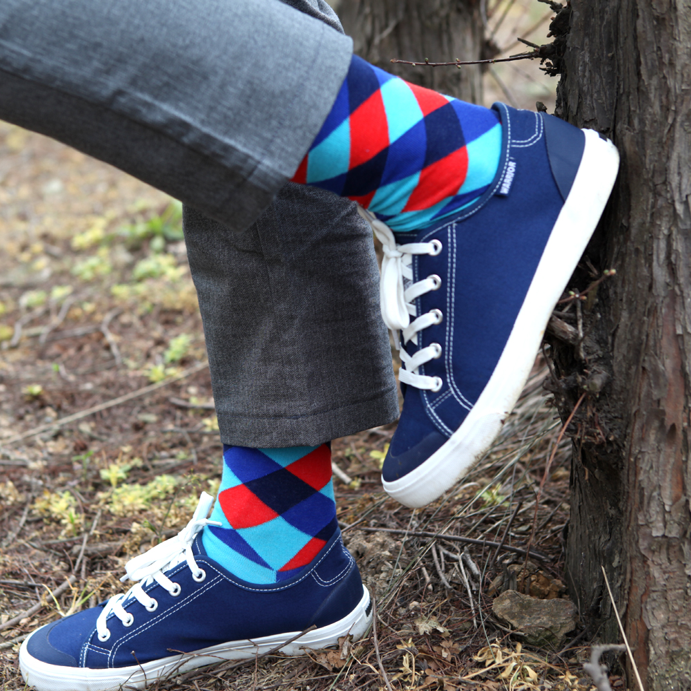 Match-Up Fashion Men's  With colorful argyle color stripes combed Cotton socks combed socks(10 Pairs/lot)