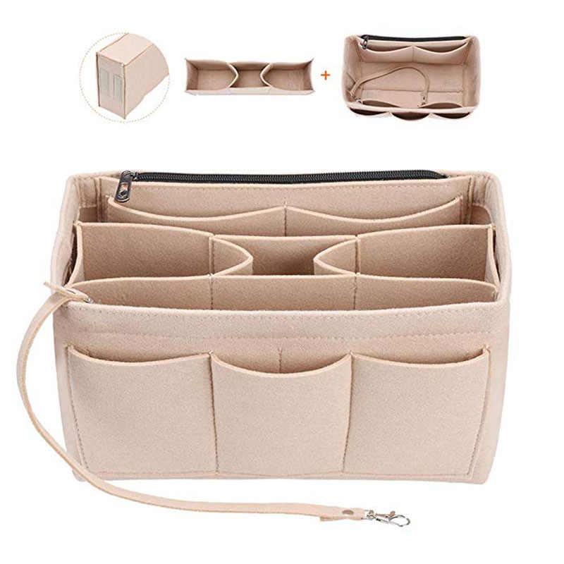 Filcowa torba organizator przyborów do makijażu filcowa wkładka do torebki podróżna wewnętrzna torba do przechowywania torby kosmetyczne odpowiednie dopasowanie Neverfull