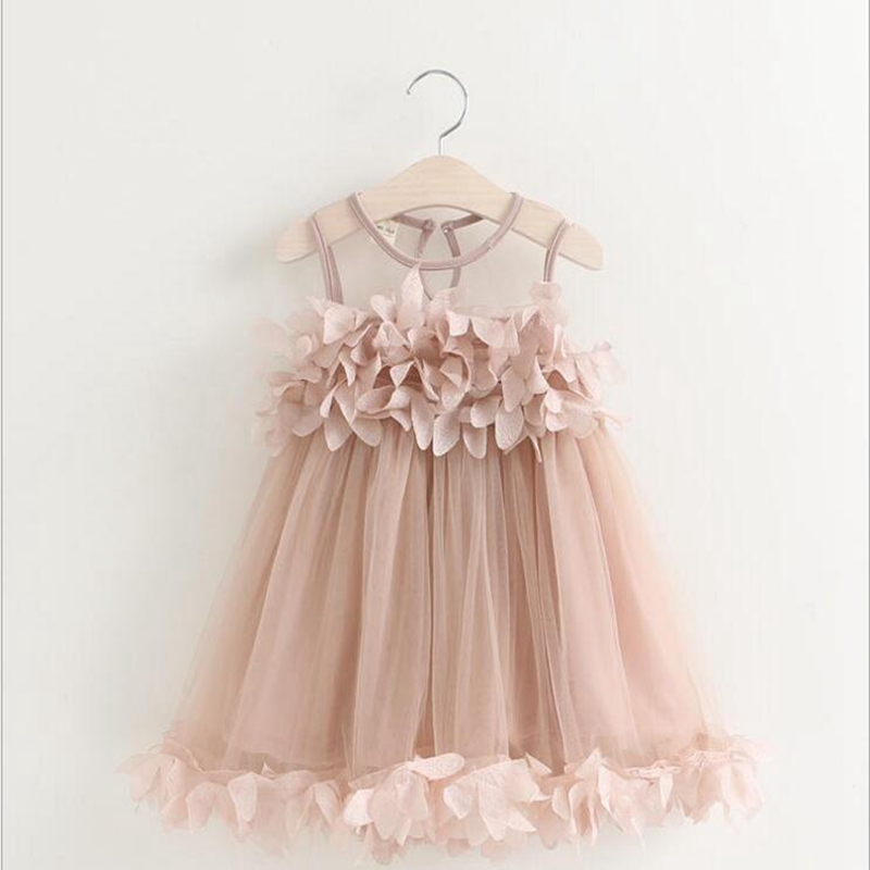 Girls Dress 2017 New Summer Mesh Baby Girl Party Clothes Pink Applique Princess Dress Children Summer Clothes Baby Girl Dress