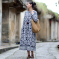 SERENELY Vestidos 2017 New Spring Women Dress O-neck Long-sleeve Vintage Print Plate Button Linen Dress Casual Long Robe S186-1
