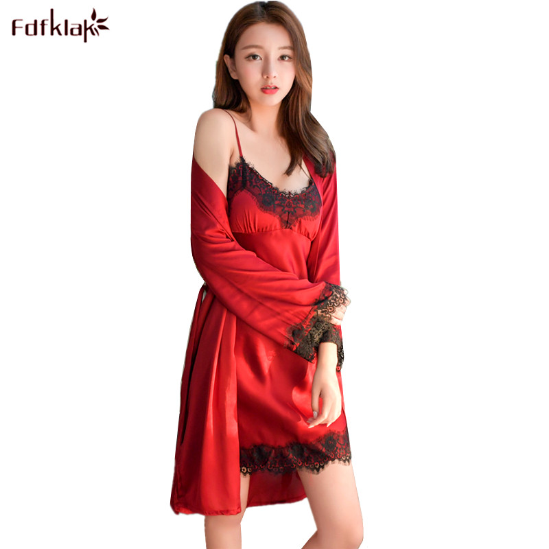 a8bcab3440cf Detail Feedback Questions about Fdfklak Women Robe Set Long Sleeve Two  Pieces Robes Sets Silk Satin Women s Sleepwear Bathrobes Female Lace  Dressing Gowns ...