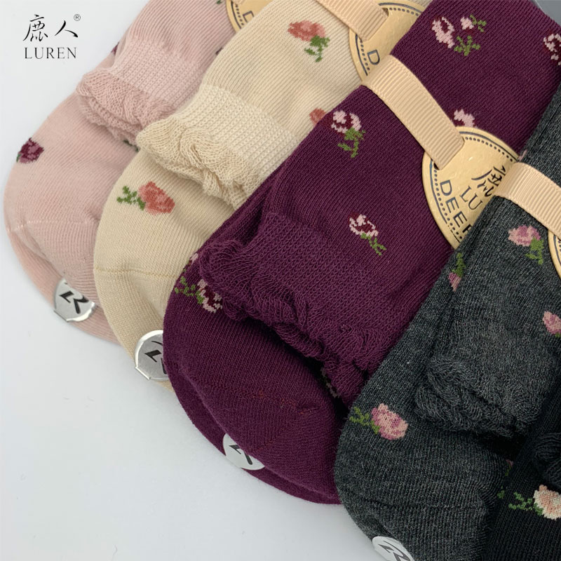 LUREN Floral Print Women Knee-High Socks 10 Colors Available Warm Socks For Ladies Simple And Elegant Combed Cotton Female Socks
