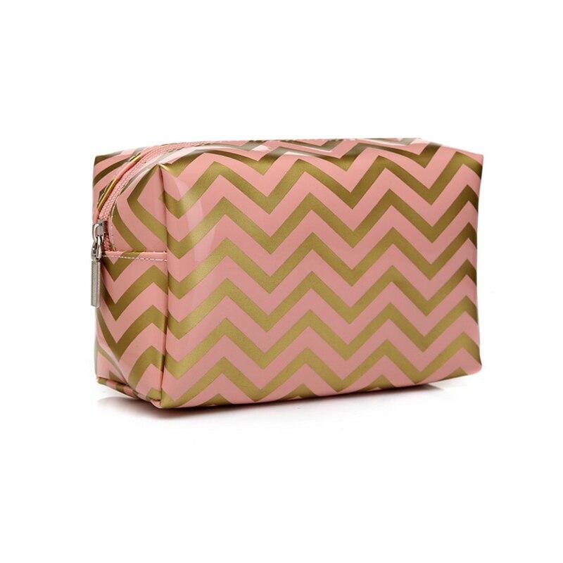 PVC Leather Waterproof Cosmetic Bag Large Capacity Stripe Makeup Organizer Women Travel Toiletry Storage Bag Make Up Vanity Case