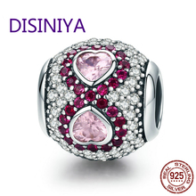 DISINIYA  True 925 Silver Law Clear Heart CZ and Crystal Pink Charm Female Bracelet Jewelry Valentines Day Gift SCC582