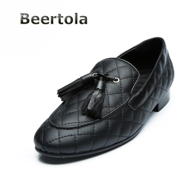 Herren Echtes Slip Loafer Schwarzes Mode Fringe Auf Leder Mokassins Schuhe Sheos Männer Homme Beertola Quaste Schwarz Wohnungen dxIvwqnUdA