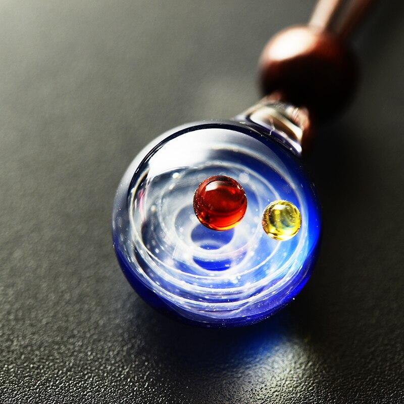 LKO Nebula Cosmic Handgemachte Galaxy Glas Anhänger mit Seil Halskette Glück Männer Frauen Paar Schmuck Valentinstag Geschenk