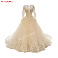 5780 Champagne Lace Wedding Dress Jacquard Lace Fabric Beading Crystal Bridal Gown