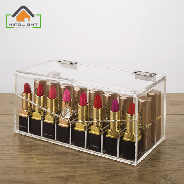 Acrylic Lipstick Storage Box (partition inside is removable) Cosmetic  Organizer Acrylic Makeup Case Acrylic