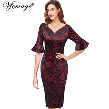 Vfemage Womens Elegant Elbow Flare Bell Sleeves Sexy V Neck Vintage Work Business Formal Evening Party Bodycon Sheath Dress 9078(China)