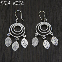 Vintage 925 Thai Silver Retro Style Round Chandelier Leaf Charm Long Drop Earrings Hand-made DIY Jewelry Accessory