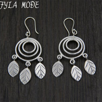 Vintage 925 Thai Silver Retro Style Round Chandelier Leaf Charm Long Drop Earrings Hand made DIY Jewelry Accessory
