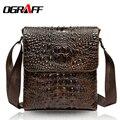 OGRAFF Genuino bolso de los hombres bolsas de mensajero del patrón del cocodrilo bolsos de hombro de cuero real de la Marca para hombre de negocios bolso de cuero