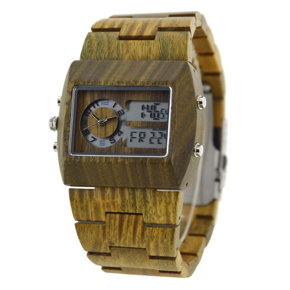 BEWELL 021A LED display Analog Digital Rectangle Wood Watch Men Quartz Watches with Stop Watch Auto