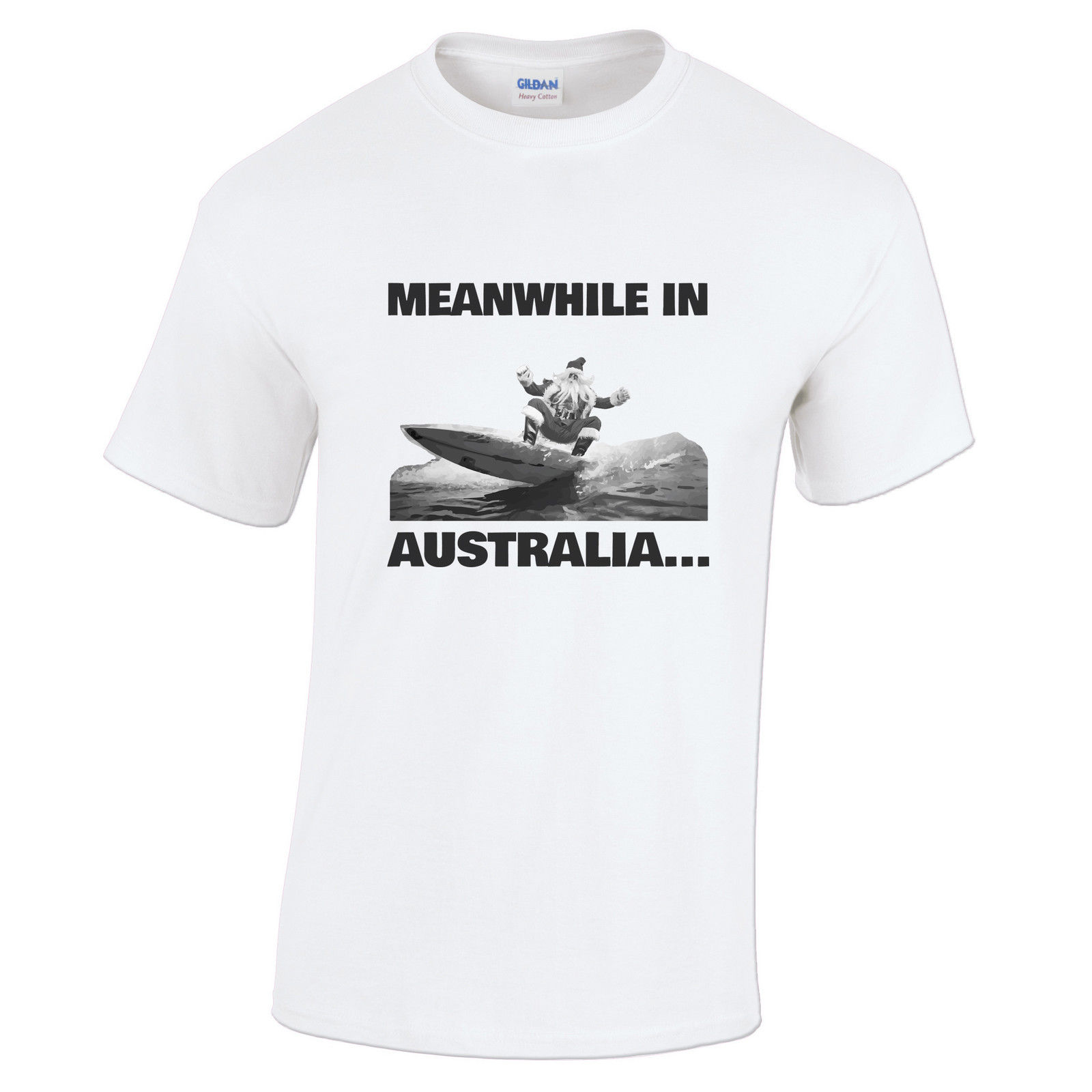 Design t shirt online australia - Custom Printed Crew Neck Short Meanwhile In Australia Surfinger Santa Claus Christmas In Summer Gift Design Mens T Shirts
