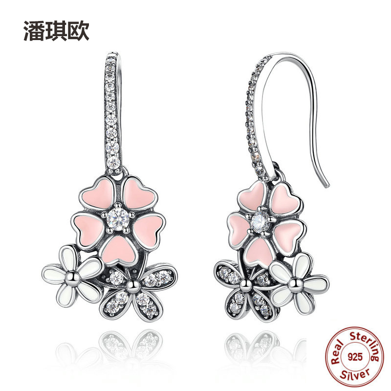 NEW 925 Sterling Silver Pink Enamel Flower Poetic Daisy Cherry Blossom Drop Earrings Compatible with pan jewelery Earring ...