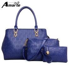 3 unids/set nuevo bolso famoso diseñador de marcas de lujo las mujeres bolsa de hombro de las mujeres fijó buena calidad medio bolso de las mujeres fijó 2016